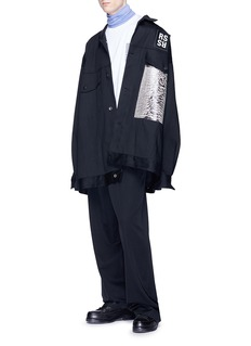 Raf Simons 'Joy Division' graphic print oversized raw denim jacket