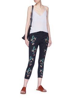 Topshop 'Jamie' floral embroidered skinny jeans