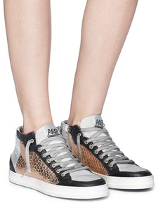 P448 Metallic honeycomb effect panelled high top sneakers