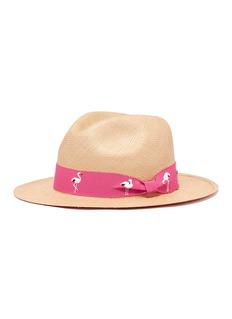 G.VITERI Flamingo embroidered ribbon toquilla straw fedora hat