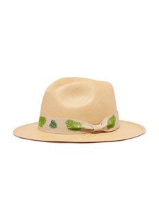 G.VITERI Palm leaf embroidered ribbon toquilla straw fedora hat