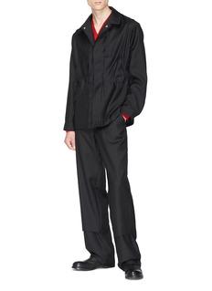 Mackintosh 0002 Panelled front wool shirt jacket
