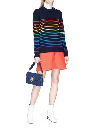 Detail View - Click To Enlarge - JW Anderson - Rainbow stripe intarsia wool unisex sweater