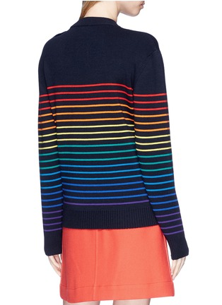 Back View - Click To Enlarge - JW Anderson - Rainbow stripe intarsia wool unisex sweater