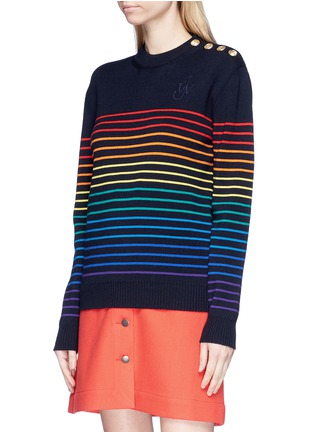 Front View - Click To Enlarge - JW Anderson - Rainbow stripe intarsia wool unisex sweater