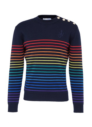 Main View - Click To Enlarge - JW Anderson - Rainbow stripe intarsia wool unisex sweater