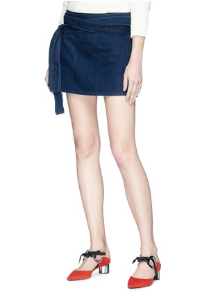 Front View - Click To Enlarge - JW Anderson - 'Lea' sash tie mini denim skirt