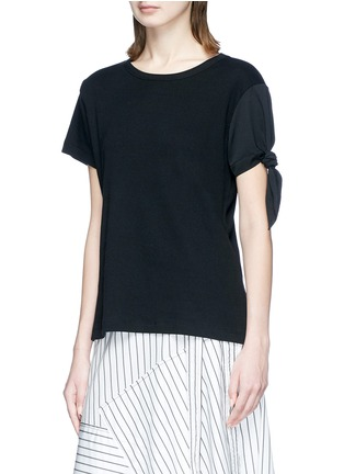 Front View - Click To Enlarge - JW Anderson - Asymmetric knot sleeve T-shirt