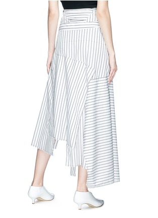 Back View - Click To Enlarge - JW Anderson - Stripe patchwork wrap poplin maxi skirt