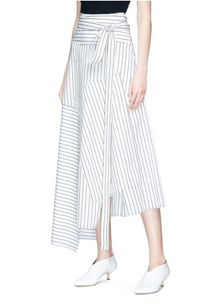 Front View - Click To Enlarge - JW Anderson - Stripe patchwork wrap poplin maxi skirt