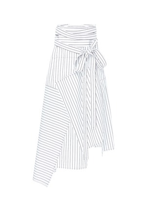 Main View - Click To Enlarge - JW Anderson - Stripe patchwork wrap poplin maxi skirt