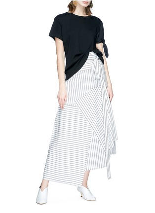 Figure View - Click To Enlarge - JW Anderson - Stripe patchwork wrap poplin maxi skirt