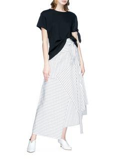 JW Anderson Stripe patchwork wrap poplin maxi skirt