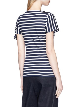 Back View - Click To Enlarge - JW Anderson - Asymmetric knot sleeve stripe unisex T-shirt