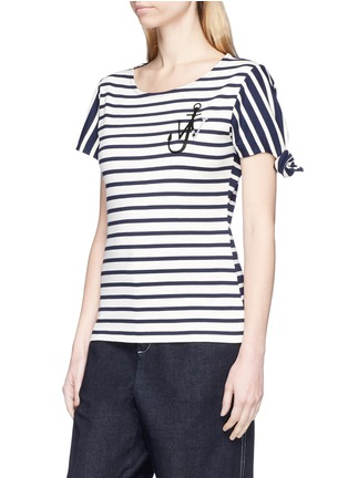 Front View - Click To Enlarge - JW Anderson - Asymmetric knot sleeve stripe unisex T-shirt