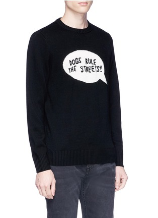 Detail View - Click To Enlarge - Egle Zvirblyte x Lane Crawford - 'Dogs Rule The Streets' slogan intarsia unisex wool sweater