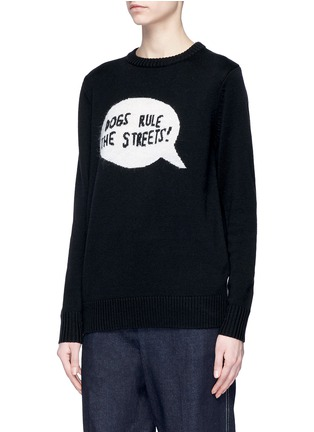 Front View - Click To Enlarge - Egle Zvirblyte x Lane Crawford - 'Dogs Rule The Streets' slogan intarsia unisex wool sweater