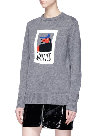 Front View - Click To Enlarge - Egle Zvirblyte x Lane Crawford - 'Wanted' dog intarsia unisex wool sweater