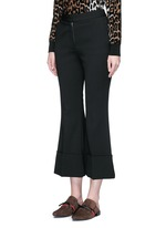 Flared cuff cropped wool crepe pants