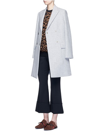 Figure View - Click To Enlarge - Stella McCartney - Flared cuff cropped wool crepe pants