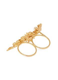 Alex Monroe 'Woodland Garden' freshwater pearl floral knuckle ring
