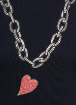 Rhinestone heart and chain wool sweater
