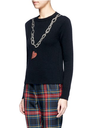 Front View - Click To Enlarge - Gucci - Rhinestone heart and chain wool sweater
