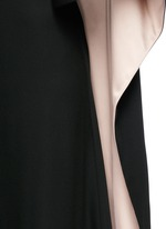 Open back cape sleeve silk gown