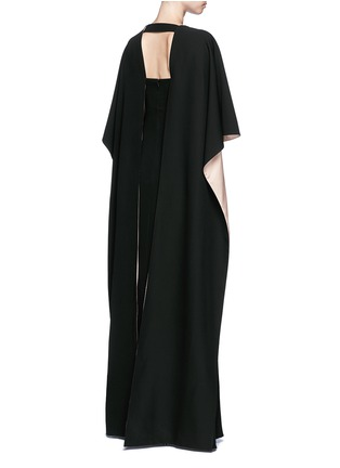 Back View - Click To Enlarge - Valentino - Open back cape sleeve silk gown