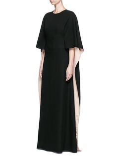 Valentino Open back cape sleeve silk gown