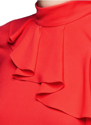 Detail View - Click To Enlarge - Emilio Pucci - Cutout shoulder ruffle cady top