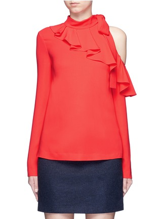 Main View - Click To Enlarge - Emilio Pucci - Cutout shoulder ruffle cady top