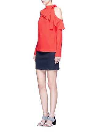 Figure View - Click To Enlarge - Emilio Pucci - Cutout shoulder ruffle cady top