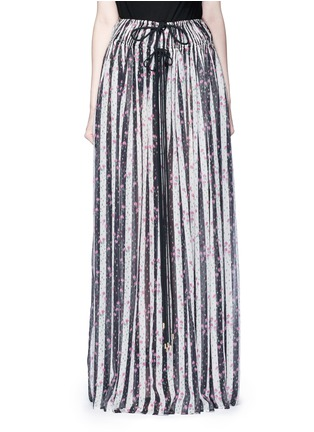 Main View - Click To Enlarge - Lanvin - Stripe floral print silk maxi skirt