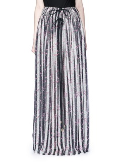 LanvinStripe floral print silk maxi skirt