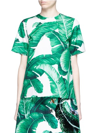 Main View - Click To Enlarge - Dolce & Gabbana - Banana leaf print poplin top