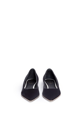 Front View - Click To Enlarge - René Caovilla - 'Ballerina' strass pavé velvet skimmer flats