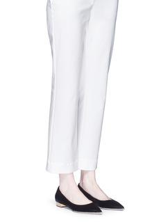 René Caovilla'Ballerina' strass pavé velvet skimmer flats