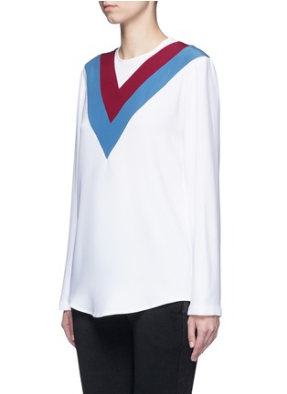 Front View - Click To Enlarge - Stella McCartney - 'Alida' football stripe cady top