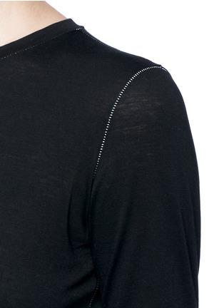 Detail View - Click To Enlarge - Helmut Lang - 'Detached cuff' cotton-cashmere T-shirt