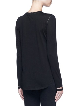 Back View - Click To Enlarge - Helmut Lang - 'Detached cuff' cotton-cashmere T-shirt