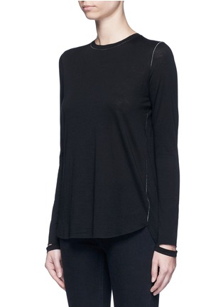 Front View - Click To Enlarge - Helmut Lang - 'Detached cuff' cotton-cashmere T-shirt