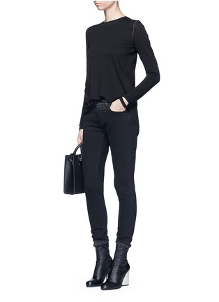 Figure View - Click To Enlarge - Helmut Lang - 'Detached cuff' cotton-cashmere T-shirt