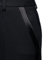 Satin trim textured wool pants