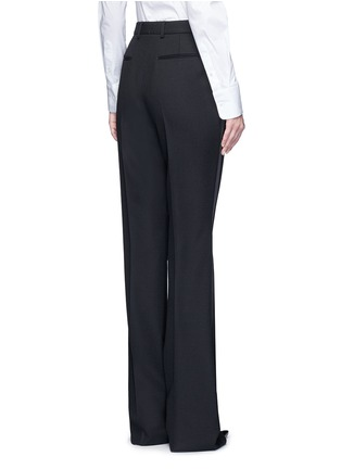 Back View - Click To Enlarge - SAINT LAURENT - Satin trim textured wool pants