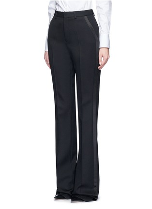 Front View - Click To Enlarge - SAINT LAURENT - Satin trim textured wool pants