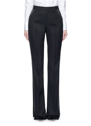 Main View - Click To Enlarge - SAINT LAURENT - Satin trim textured wool pants