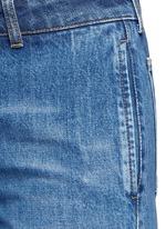 Contrast wash flared denim pants