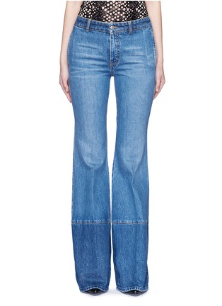 Main View - Click To Enlarge - Alexander McQueen - Contrast wash flared denim pants