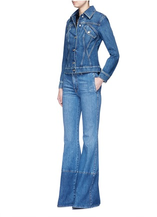 Figure View - Click To Enlarge - Alexander McQueen - Contrast wash flared denim pants